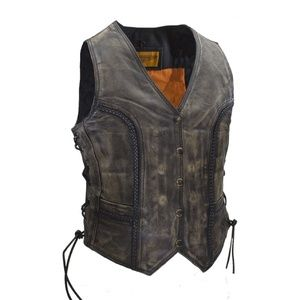 Classic Style Vest Distressed Brown NWT